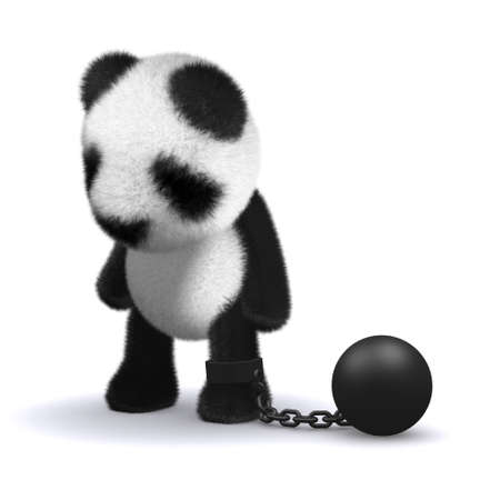 shackled: 3d render of a panda bear with a ball and chain