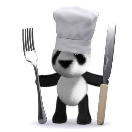 3d render of a panda chef with knife and fork photo