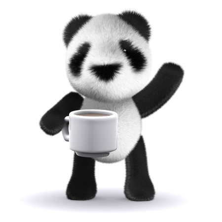 3d render of a panda with a cup of tea photo