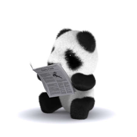 3d render of a panda with a newspaper photo
