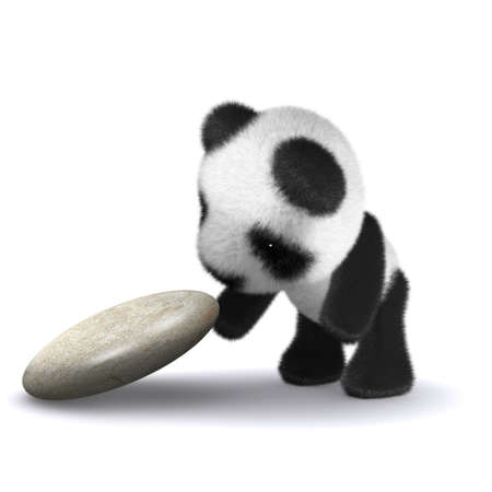 3d render of a panda lifting up a rock photo