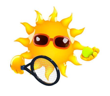 raquet: 3d render of the Sun holding a tennis raquet