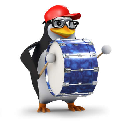 3d render of a penguin playing a bass drum photo