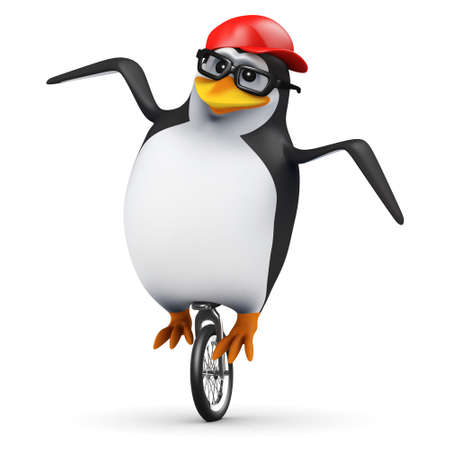 3d render of a penguin on a unicycle photo