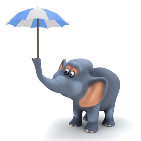3d render of an elephant under a tiny umbrella photo