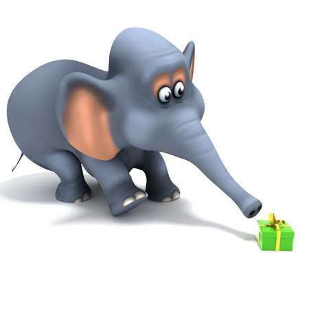 3d render of an elephant surprised at a small present photo
