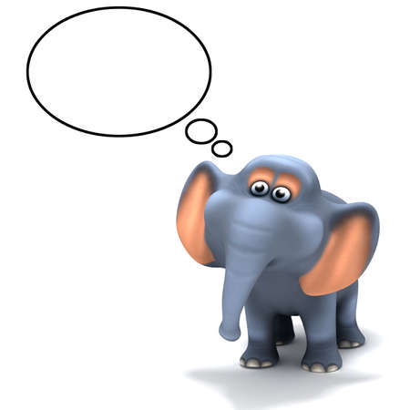 3d render of an elephant with a thought bubble above his head photo