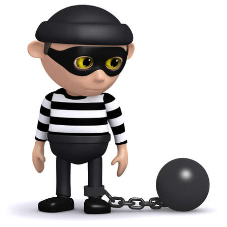 snoop: 3d render of a burglar wearing a ball and chain Stock Photo