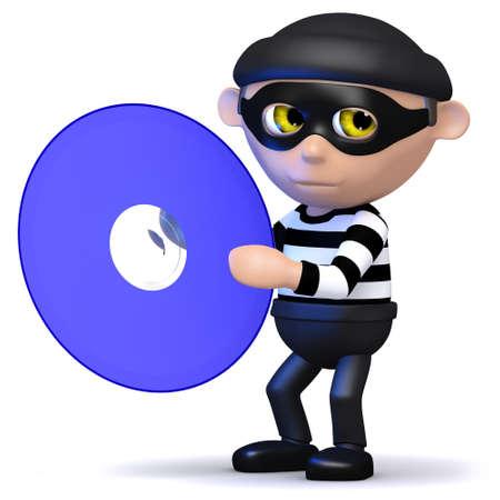 snoop: 3d render of a burglar holding a dvd