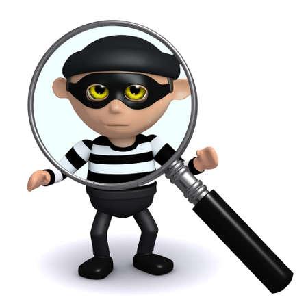 snoop: 3d render of a burglar under a magnifying glass