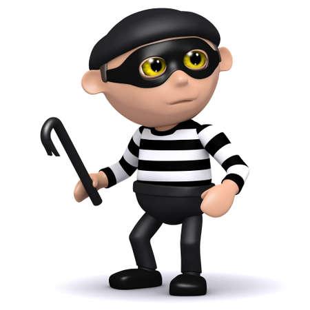 snoop: 3d render of a burglar holding a crowbar