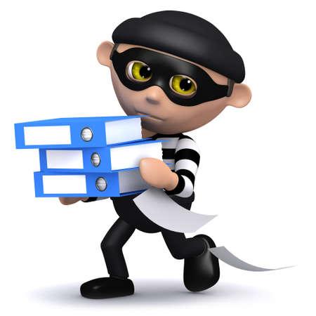 snoop: 3d render of a burglar holding some folders Stock Photo
