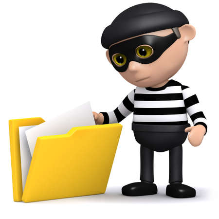 snoop: 3d render of a burglar taking some papers out of a folder