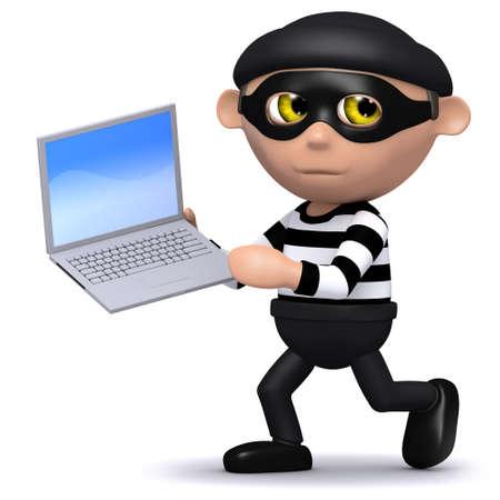snoop: 3d render of a burglar running with a laptop Stock Photo