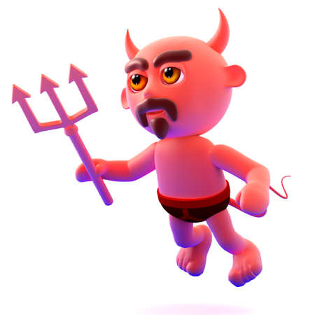 3d render of a devil character flying photo