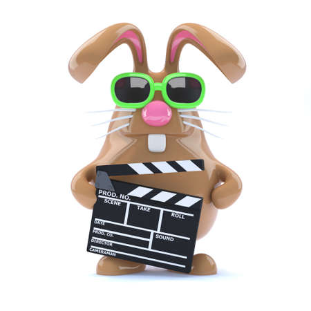 3d render of a rabbit holding a clapperboard photo