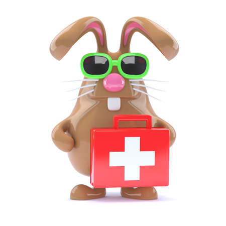 first aid box: Procesamiento 3D de un conejo con un botiqu�n de primeros auxilios Foto de archivo