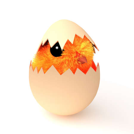 3d render of an Easter chick hatching from an egg photo