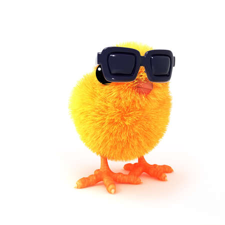 3d render of a chick wearing sunglasses photo