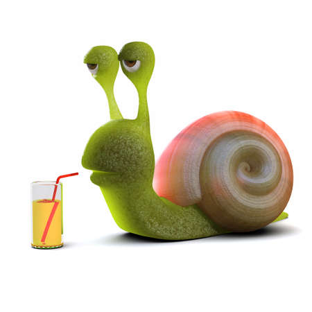 slither: 3d render of a snail drinking from a glass Stock Photo