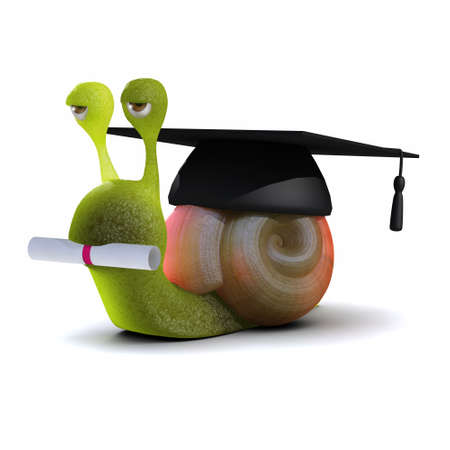 mortar board: 3d render of a snail wearing a mortar board Stock Photo