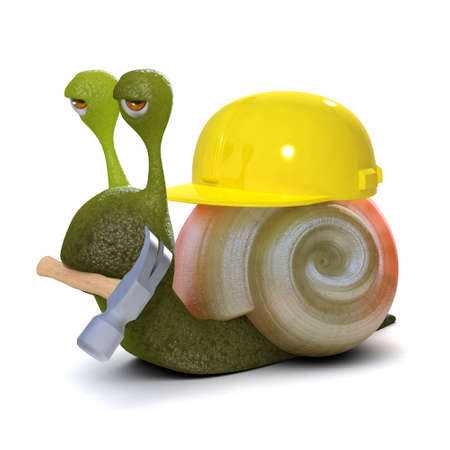 3d render of a snail wearing a hard hat and carrying a hammer photo