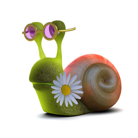 3d render of a snail with a daisy in its mouth photo