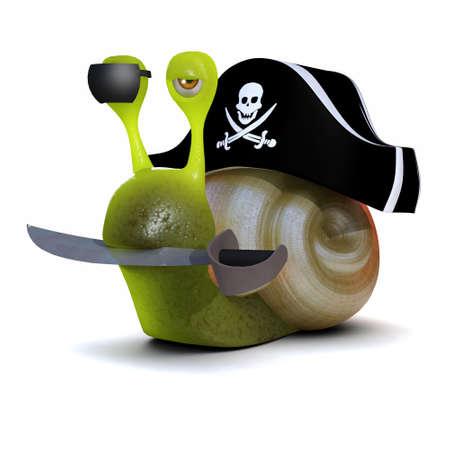 cutlass: Procesamiento 3D de un caracol que lleva un sombrero de piratas y que lleva un machete