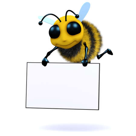 3d render of a bee carrying a banner photo