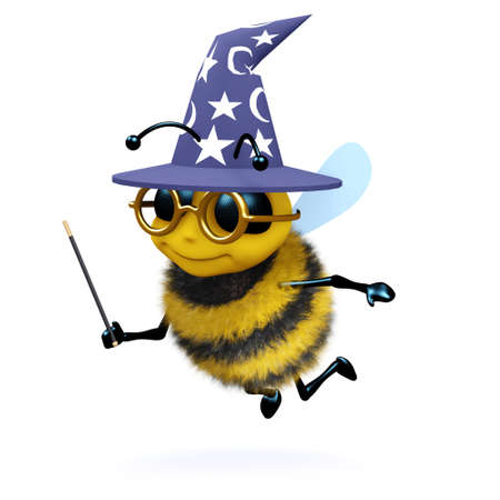 3d render of a bee dressed as a magician photo