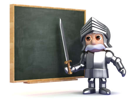 cartoon warrior: 3d render of a knight at the blackboard Stock Photo
