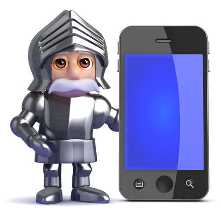 knight armor: 3d render of a knight standing next to a smart phone