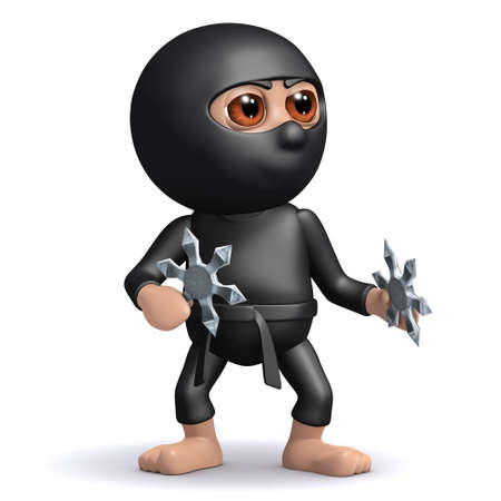 stealth: 3d render of ninja with throwing stars Stock Photo
