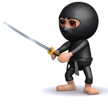 3d render of ninja holding katana photo