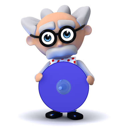 3d render of a scientist holding a dvd photo
