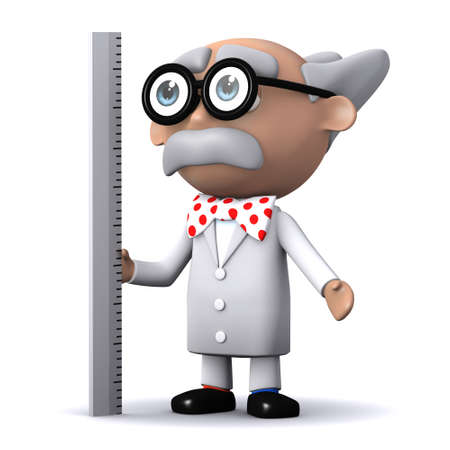 3d render of a scientist using a ruler photo