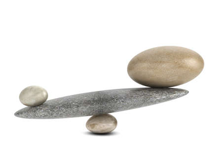 unequal: 3d render of unequal stones balancing