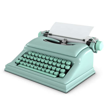 pale green: 3d render of a pale green typewriter