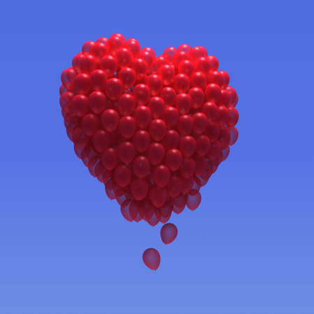 3d render of red balloons forming the shape of a heart photo