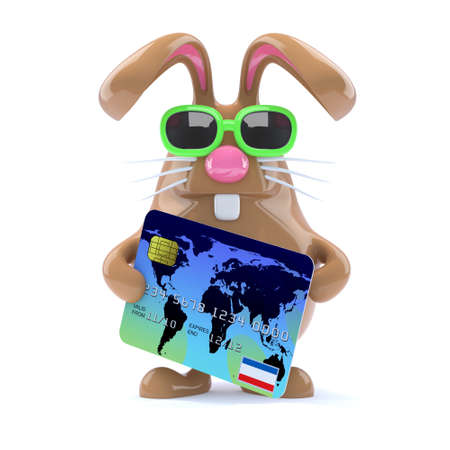 3d render of rabbit using his credit card photo