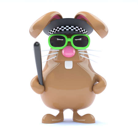 3d render of a rabbit dressed as a police officer photo