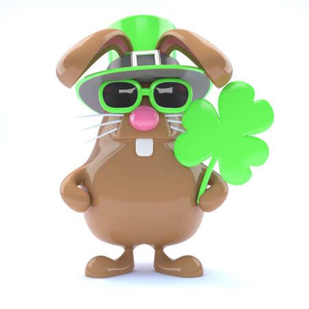 irish easter: 3d render of a rabbit celebrating St Patricks Day Stock Photo