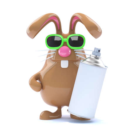 spraypaint: 3d render of a rabbit holding a spraypaint can
