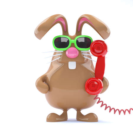 3d render of a rabbit answering the phone photo