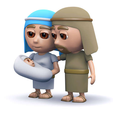 the scriptures: 3d render of the baby Jesus with Mary and Joseph
