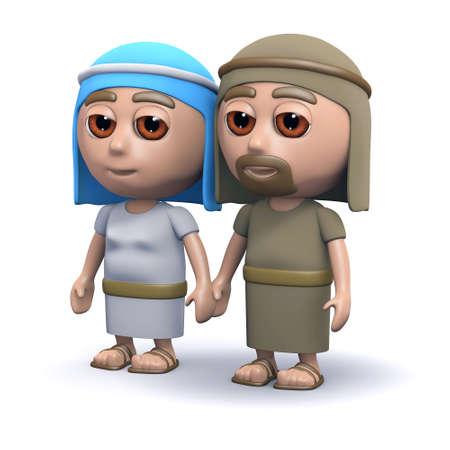 the scriptures: 3d render of Jesus parents
