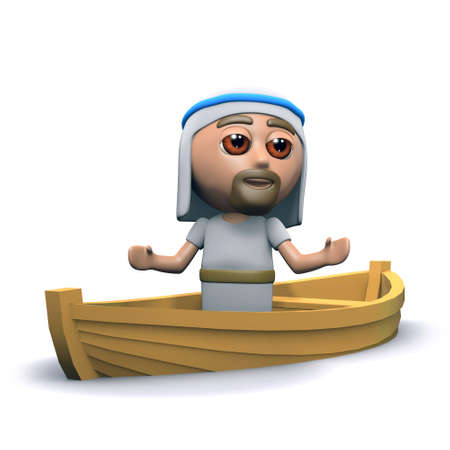 the scriptures: 3d render of Jesus in a small fishing boat Stock Photo