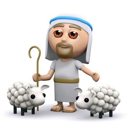 3d render of Jesus with his flock of sheep photo