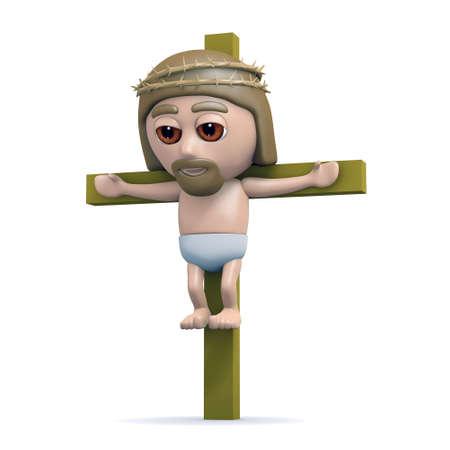 the scriptures: 3d render of Jesus on the cross Stock Photo