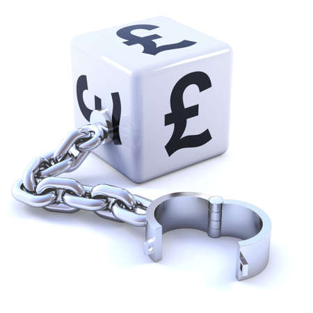 shackle: 3d render of white dice with UK Pound symbol and shackle